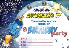 Convite nenhuns do aniversário do espaço 2 Fotografia de Stock