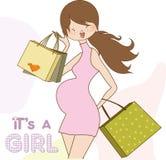 Convite novo do chuveiro de bebê com pretendente grávido Fotos de Stock