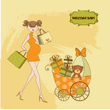 Convite novo do chuveiro de bebê com pretendente grávido Foto de Stock Royalty Free