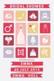 Convite nupcial com ícones lisos, casamento do chuveiro Fotografia de Stock Royalty Free