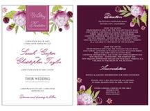 Convite nupcial do cartão do chuveiro com flores da aquarela Fotos de Stock