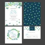 Convite nupcial do cartão do chuveiro com flores da aquarela Fotografia de Stock