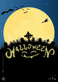 Convite ou cartão de Halloween no azul e no preto Foto de Stock