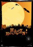 Convite ou cartão de Halloween no projeto alaranjado Imagens de Stock Royalty Free