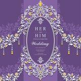Convite ou cartão do casamento com fundo abstrato Imagens de Stock Royalty Free