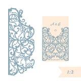 Convite ou cartão do casamento com ornamento abstrato Molde do envelope do vetor para o corte do laser Cartão do corte do papel Imagem de Stock Royalty Free