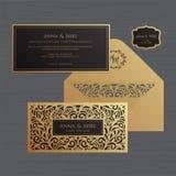 Convite ou cartão do casamento com ornamento do vintage Papel ilustração stock