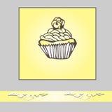 Convite ou molde do cartão com cupc tirado mão da garatuja Imagem de Stock