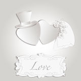 Convite romântico do casamento do estilo do vintage ilustração stock