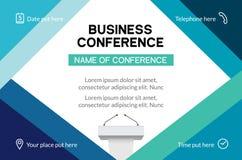 Convite simples do molde da conferência de negócio Conferência geométrica do compartimento ou bandeira do projeto da reunião de n ilustração do vetor