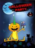 Convite a um divertimento da abóbora de Dia das Bruxas do partido com bolo, fundo azul Fotografia de Stock Royalty Free