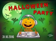 Convite a um partido de Dia das Bruxas, abóbora DJ Fotografia de Stock Royalty Free