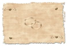 Convite velho do casamento Fotografia de Stock Royalty Free