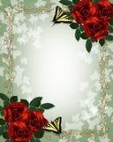 Convite vermelho do casamento da beira das borboletas das rosas Imagem de Stock