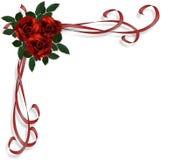 Convite vermelho do casamento da beira das rosas Fotos de Stock