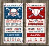 Convite vertical do basebol do vetor Fotos de Stock