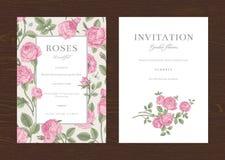 Convite vertical do vintage do vetor floral Imagens de Stock Royalty Free