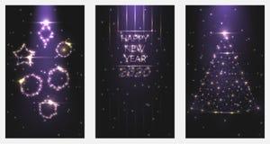 Convites 2020 do cartaz do ano novo feliz da ilustração do vetor Ajuste das árvores de Natal e dos quadros dos brinquedos de part ilustração do vetor