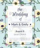 Convites do casamento com flores da anêmona Cartões do convite de Anemone Bridal Shower no tema cinzento e azul da luz - Fotos de Stock