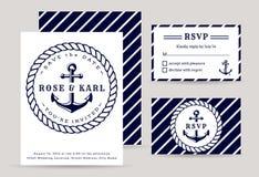 Convites náuticos do casamento Foto de Stock Royalty Free