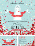 Convites nupciais do chuveiro do casamento Vestido da noiva, corações de queda, flo ilustração royalty free
