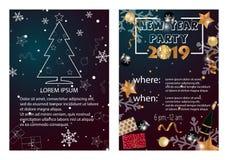 Convites temáticos do cartão ou do Natal do ano 2019 novo feliz ilustração do vetor