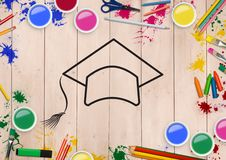 Convocation hat drawn on wooden plank with coloring tools Royalty Free Stock Photos