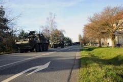 Convoglio dell'esercito americano, 27 3 2016, repubblica Ceca, attraversante in Polonia da vecchio Boleslav, Immagini Stock Libere da Diritti