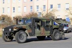 Convoglio dell'esercito americano, 27 3 2016, repubblica Ceca, attraversante in Polonia da vecchio Boleslav, Immagine Stock Libera da Diritti