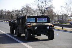 Convoglio dell'esercito americano, 27 3 2016, repubblica Ceca, attraversante in Polonia da vecchio Boleslav, Fotografia Stock Libera da Diritti