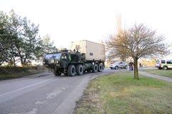 Convoglio dell'esercito americano, 27 3 2016, repubblica Ceca, attraversante in Polonia da vecchio Boleslav, Fotografie Stock Libere da Diritti