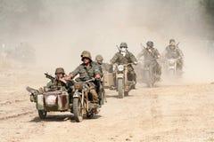 Convoglio della motocicletta nella guerra mondiale 2 immagini stock libere da diritti