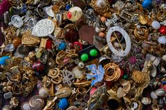 Convolute of costume jewelery on a flea market stock photo
