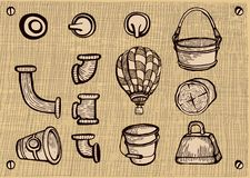 Convoluted contraption elements. Drawing.Vintage Royalty Free Stock Image