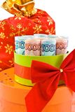 The convolve money in a gift box. With red bowknot Royalty Free Stock Images