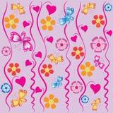 Convolvolo, farfalle e fiori Immagini Stock