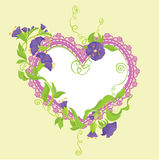Convolvulus Flowers bouquet and lace heart Stock Images