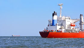 Convoy. Two ships in the sea Stock Photography