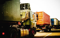 Convoy. A convoy of trucks and a traffic jam Stock Photo