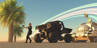 Convoy on Alien Planet. A female soldier draws her gun at an alien presence on a distant planet with rings orbiting in the sky Stock Photography