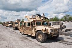 Convoy of armored HMMWV Ukrainian army Stock Photos