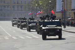 A convoy of cars Tiger after a solemn March on the Palace square in St. Petersburg Stock Images