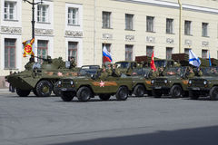 A convoy of military vehicles before the rehearsal of parade in honor of Victory day. St. Petersburg Stock Photography