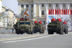 A convoy of rocket launchers coming out on Palace square. Rehearsal of parade in honor of Victory Day, St. Petersburg Stock Photo