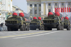 A convoy of rocket launchers S-300PM moves on the Palace square. Rehearsal of parade in honor of Victory Day in St. Petersburg Stock Image
