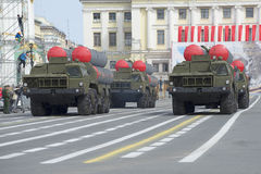 A convoy of rocket launchers ZRS S-300PM on rehearsal of parade in honor of Victory Day on Palace square Stock Photo