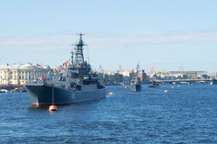 A convoy of ships of the Baltic fleet on parade in honor of Victory day on the river Neva. Saint Petersburg Royalty Free Stock Image