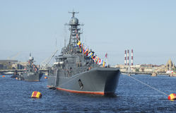 A convoy of ships of the Baltic fleet on parade in honor of Victory day. Saint Petersburg. SAINT PETERSBURG, RUSSIA - MAY 09, 2015: A convoy of ships of the Stock Image
