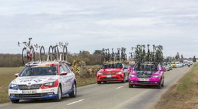Convoy of Technical Cars - Paris-Nice 2018 stock image