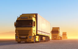 Convoy of trucks Stock Images